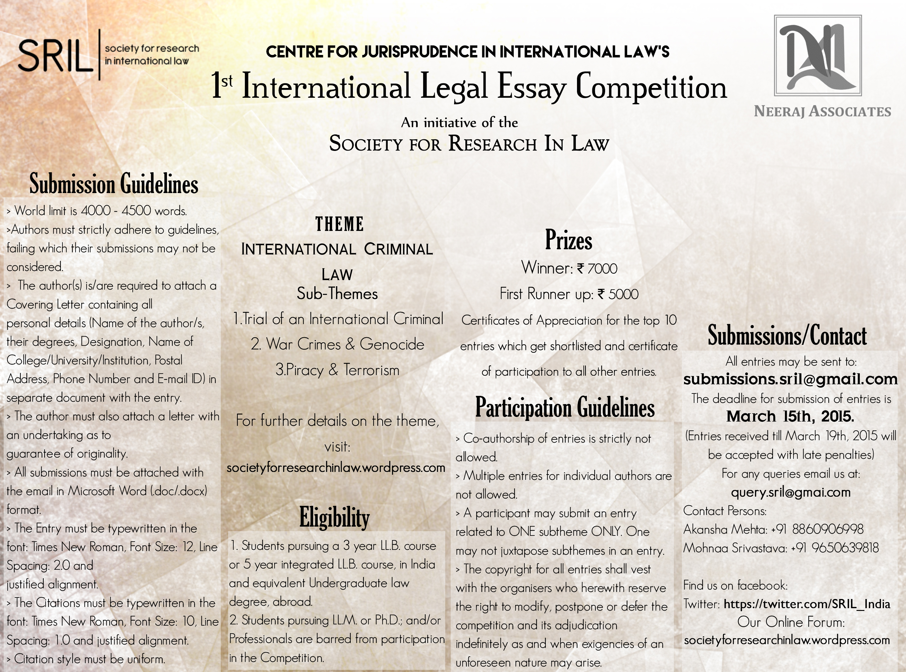 essay on international criminal law 2015 society for research in law essay on international criminal law 2015